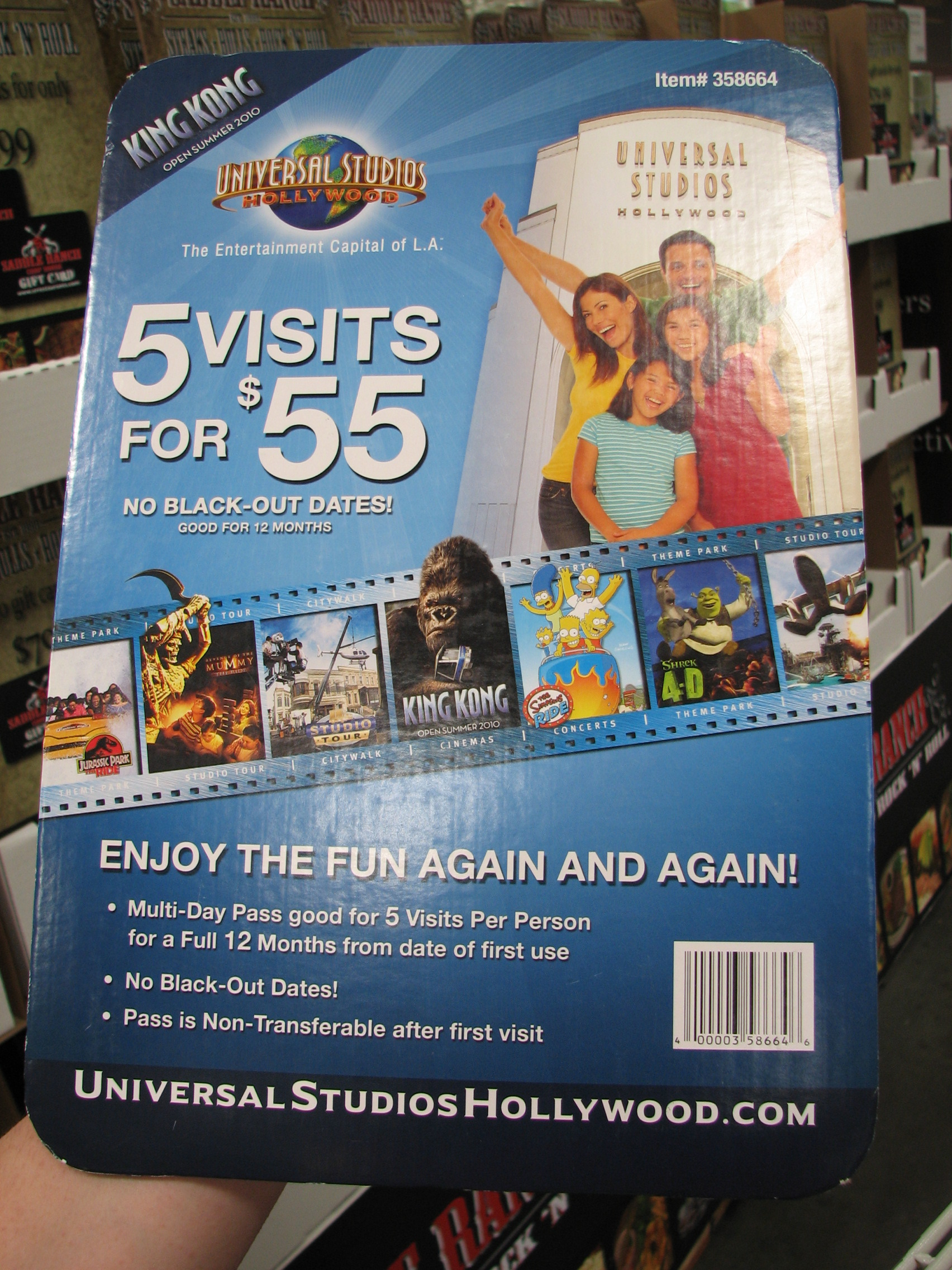 Universal Studios Hollywood 3 Visit Ticket, eTicket 3 Visits, No Blackout DatesValid 12 Months from Selected 1st Visit DateAdvanced Registration Required for each visitVisits Do not Need to be on Consecutive DaysUniversal City, California.